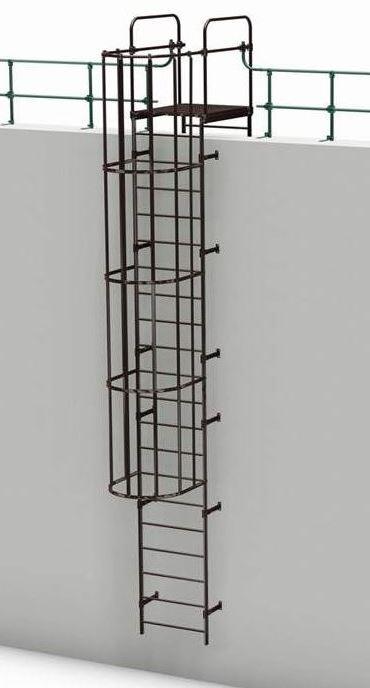 Пожарная стеновая металлическая лестница